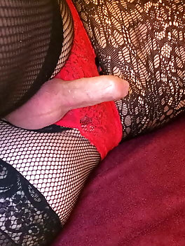 Crossdressing in red and black.