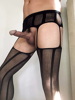 Big Cock Sexy Ass in Black Stockings
