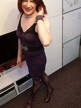 TGirl Slut Lucy the purple poser