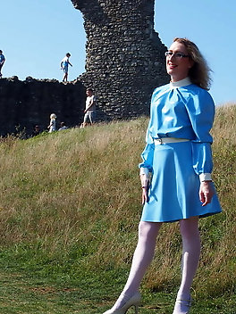 Outdoors in a Blue Latex Dress from Latex and Lovers .co.uk