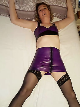 Purple Latex Clad Ass for Essex Girl Lisa